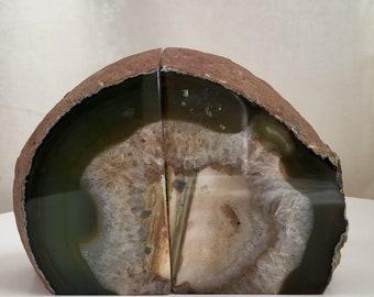 Vintage Natural Agate Book Ends BookEnds Crystal