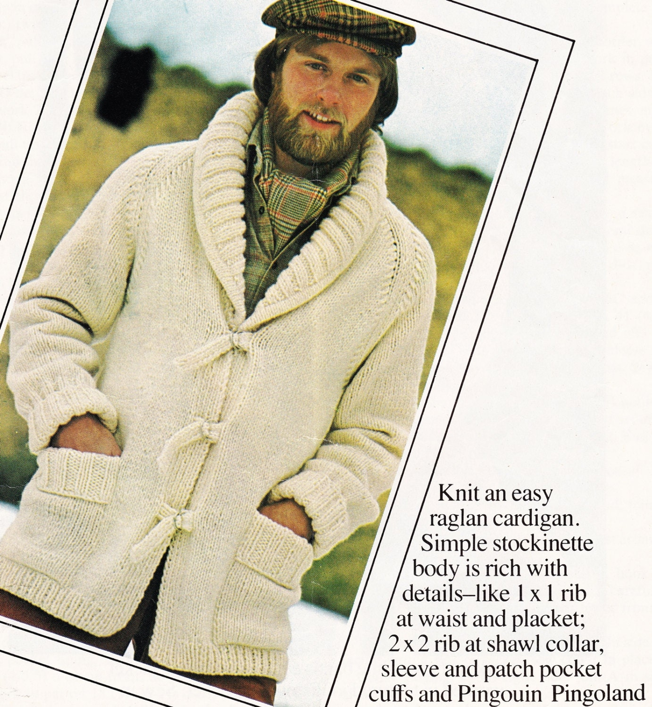 Vintage MENS Sweater Pattern - Shawl Collar Cardigan - Jacket Coat ...
