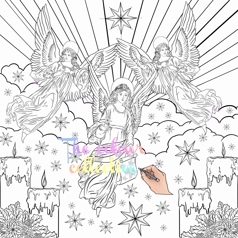 Christmas angel\'s colouring digital print download