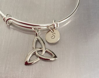 Celtic knot with initial bangle bracelet