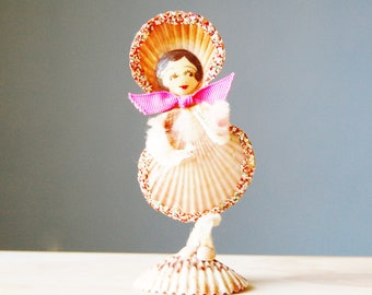 Vintage Shell Lady Figurine Chenille Arms and Legs 1960s Girl Hand Painted Face