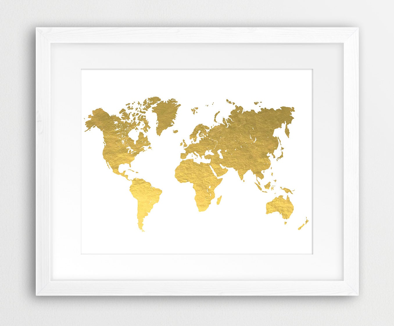 World Map Gold Printable File World Map Silhouette Gold Foil