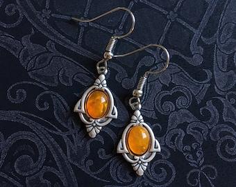 Amber Dangle Earrings, Amber Jewelry, Amber Earrings, Bohemian Jewelry, Silver Amber Earrings, Dangle Earrings, Silver Dangle Earrings