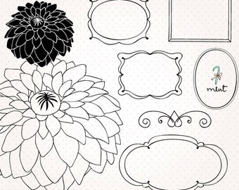 50% OFF SALE Set of hand drawing frame - Digital frame clipart, flower clip art - digital scrapbooking, frame, invitation, photo card