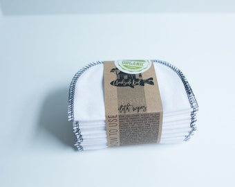 Organic Cotton Flannel Cloth Wipes with Organic Cotton Thread -   Organic Wipes - Double Layer --   BLACK Thread