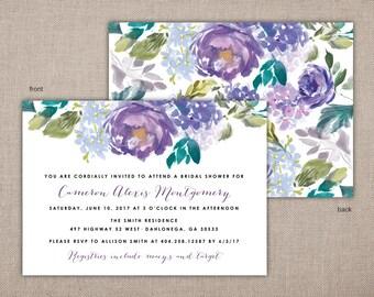 BRIDAL SHOWER - Printable Invitation, Elegant Purple Wedding Shower Printables, Bridal Shower Invitations, Front and Back Bridal Shower, 030