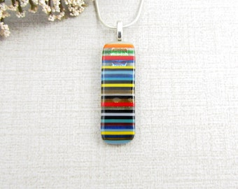 Fused Glass Pendant - Colorful Striped Fused Glass Pendant - Orange, Red, Yellow, Blue, Black and White Glass Necklace - Fused Glass Jewelry
