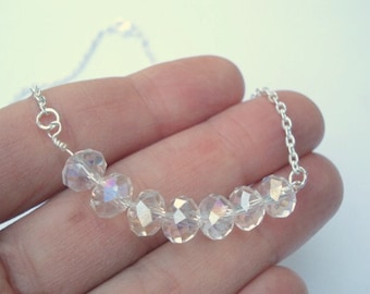 Crystal Beaded Necklace Glass Bead Necklace her Choker Necklace Bridesmaid Jewelry Diamond Necklace