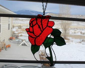 Stained glass rose, glass rose, stained glass, red rose, Valentine's Day rose, red stained glass rose, red stained glass, Valentine's Day