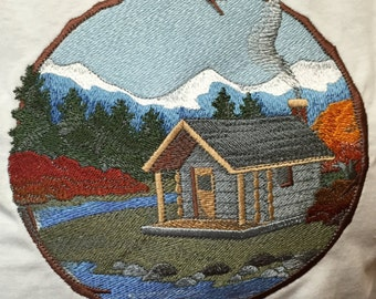 Embroidered Mountain Cabin T-Shirt