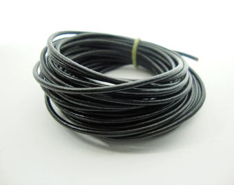 Round Leather Cord, Black Leather Cord, Lead Free 1mm Round Cord, Genuine Leather Cord, Bracelet Necklace Leather