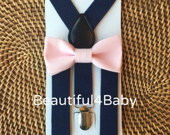 Blush Baby Bow Tie, Pink Baby Bow Tie, Toddler Bow Tie, Blush Bow Tie and Navy Suspenders Set- 6 Months to 5 Years Old