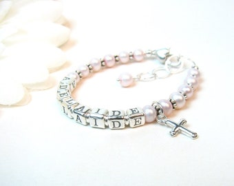 Baby Name Bracelet - Personalized Newborn Infant Baby Girl Bracelet - Pink Little Girl Jewelry - Christening or Baptism Bracelet Gift
