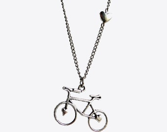 "Bicycle Love, Silver Bike Necklace, 30"" Silver Chain, bicycle necklace, bike jewelry, bicycle, bike necklace, bike, tiny heart bead, heart"