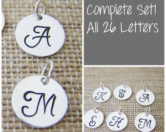 COMPLETE SET - Silver -  Alphabet Hand Stamped Silver Initial Charm / Script Font / Alphabet Initial Disc - Jewelry Findings - DIY Charms