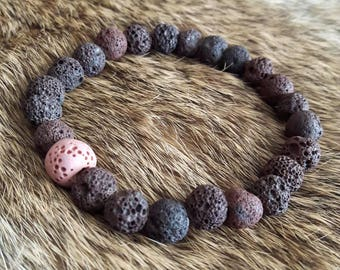 Brown and pink lava stone aromatherapy diffuser bracelet