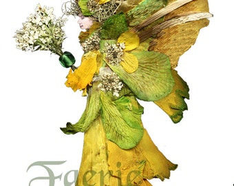"Faeries from Flowers, Art by Zella, 5X7 Fairy Note Cards with Envelopes, ""Daleana"" Daffodils, Garden and Forest Fairies"