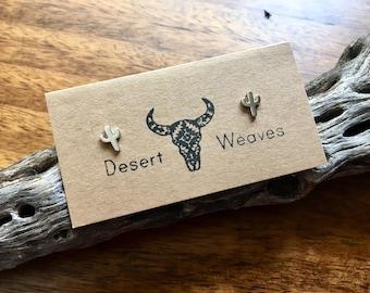 Cactus earrings, sterling silver earrings, dainty earrings, southwestern earrings, silver saguaro cactus earrings, tiny cactus studs