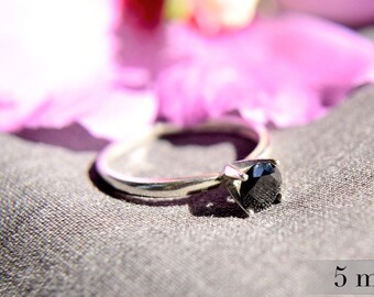 Black Spinel Ring, 5mm Gemstone, Promise Ring, Polished Sterling Silver Ring, Engagement Ring, Black Diamond Alternative, Bridesmaids Gifts