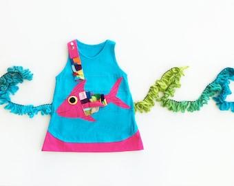 Girl's Dress, FISH Dress, Applique Dress, Blue Dress, Pink Dress, Childrens Clothing, Applique Clothing, White Dress, Animal Clothing