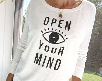Open Your Mind - White Cotton Pullover