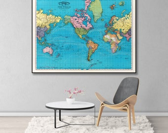 Antique World Map On Mercator, Vintage Map Of The World, Vintage Map Wall Print, World Map Poster, World Map Print, Old Map Of The World