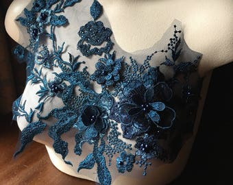 Navy Blue &  Dark Teal 3D Applique , Beaded and Embroidered for Lyrical Dance, Ballet, Couture Gowns F15