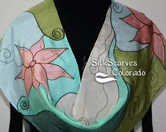 Olive Silk Scarf Handpainted. Coral, Tan Hand Painted Shawl. Handmade Silk Scarf CORAL ROMANCE. Size 11x60. Anniversary, Mother Gift.