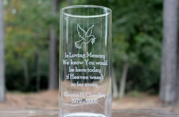 Personalized Memorial Glass Vase Custom Engraved Memorial
