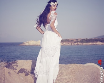 Bohemian Wedding Dress, SuzannaM Designs, Long Bridal Dress, Boho Wedding Dress, Lace Wedding Gown, Gypsy Wedding Gown,Handmade Gown, Bridal
