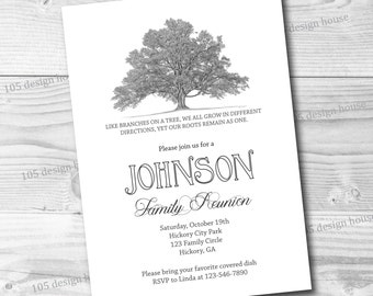 Family Reunion Invitation Printable -  Simple Family Reunion Invite - Classic Family Reunion Invitation - Customizable for any type of party