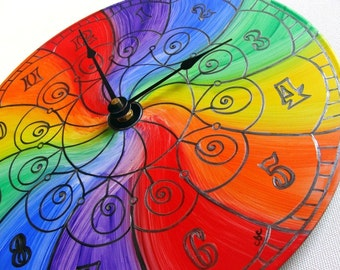Color Wheel Mandala Record Clock - Trippy Psychedelic Rainbow Home Decor - Hand Painted Geometric Design - LGBTQ Pride Marriage Equality