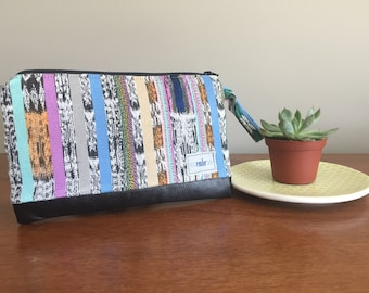 Leather Clutch Purse - Geometric Clutch - Bridesmaid Clutch - Evening Bag - Gift for Her - Wristlet
