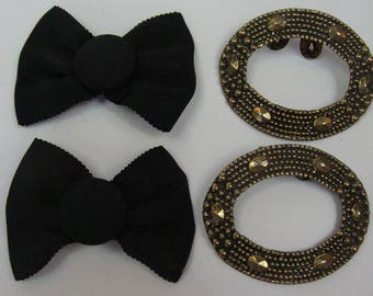 2 PAIRS of SHOE CLIPS metal oval and black fabric bow (C4)