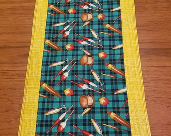"""Hook, Line and Sinker- colorful old-fashioned fishing- themed table runner- 11"""" by 38.5"""""""