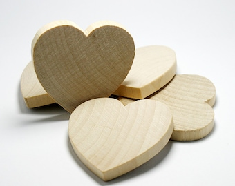 "20 Solid Wood Hearts, 2"" x 2"", 1/4"" Thick,  Natural Wood Heart  for Crafting, Staining, Painting, (#H025)"