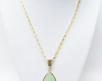 """Faceted Green Onyx Teardrop Pendant Necklace (19"""")"""