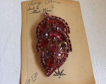 Vintage signed pink Weiss rhinestone brooch new old stock dimensional layered leaf on original card gold tone
