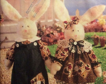 """Sewing Pattern 13""""  Dressed Bunnies  Decorative Stuffed Rabbit Toys Baby BunnykinswithBunnykins Uncut 1998 Non-Removable Clothes"""