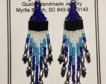 Native American Beaded Earrings, Blues