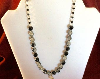 FREE SHIPPING Necklace, Beaded Necklace, Beaded Black and Clear Necklace, Beaded Black and Clear Necklace with Pendant