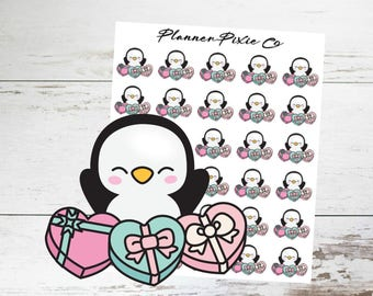 Penguin Planner Stickers // Valentine's Day // 039