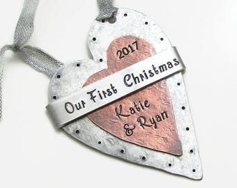 Personalized Couples Ornament, Our First Christmas Personalized Ornament, Hand Stamped Ornament Wedding Keepsake Ornament Christmas Ornament