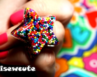 Sprinkles Star Candy Ring - Summer Party, Catch a Falling Star Through A Rainbow, resin sprinkles star adjustable ring ...by isewcute