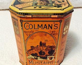 Vintage Colman's Mustard Tin Box Trade Mark Bull's Head Advertising