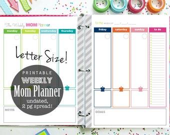 Weekly Planner, Mom Planner, Printable Planner, Planner Pages, Menu Planner, Daily Planner, Household Binder