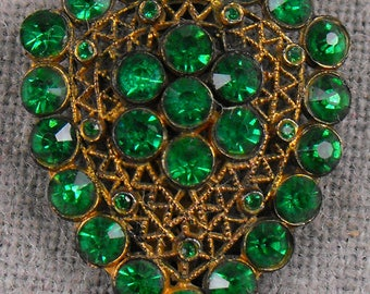 Brilliant Green Crystal Stones in a vintage Dress Clip