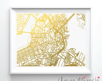 Boston Downtown Street Map Gold Foil Print, Gold Print, Street Map Print in Gold, Art Print, Downtown Boston Street Map Gold Foil Print