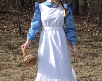 Woman's Simple Rustic Oregon Trail pioneer prairie calico old fashioned 1800's American history costume dress--Maude--MADE TO ORDER