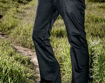 "LAST PAIRS Men's ""Gahan"" Sateen Rivet Pants in Black by Opal Moon Designs (Sizes 30 or 38 waist)"